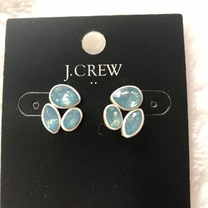 NWT J.Crew Crystal Trio Earrings Iridescent Blue